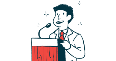 QurAlis names QRL-201 its lead treatment candidate | ALS News Today | speaker at podium announcement illustration