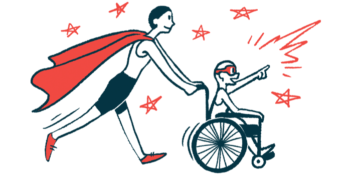 rare disease clinical trial participants   ALS News Today   Illustration of woman in cape pushing child in wheelchair