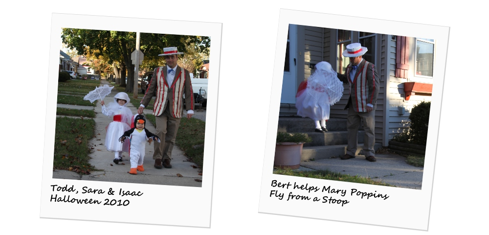 ALS News Today \ A photo collage of Todd and the kids dressed up as Mary Poppins characters for Halloween in 2010.